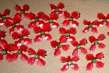 25 Vintage Holly Poinsettia Light Bulbs Peg for Ceramic Christmas Tree Red Green