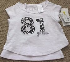 Guess Jeans Tee Shirt Tank Top Girl's 2T White FREE S/S 2 Piece $40 Dillards NWT