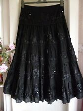 DEBBIE SHUCHAT LONG WITCHY GOTH BLACK TIERED SKIRT SATIN RIBBON & JET BEADED 10