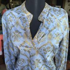 NWT At Last Co Indian Tunic French Blue Beading S Easter Spring! FREE SHIPPING!