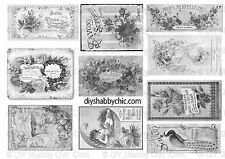 FURNITURE WATER SLIDE DECAL SHABBY CHIC FRENCH IMAGE TRANSFER VINTAGE LABELS B&W