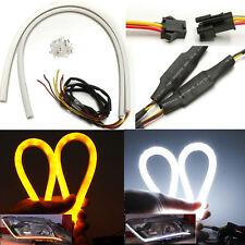 2X 60cm LED White Amber Flexible Tube Strip Switchback Head DRL Daytime Light US