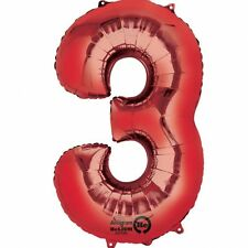 Number 3 Red SuperShape Foil Balloon Party Decoration Supplies 3rd 30th