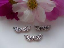 50 Metallperlen Engel-Flügel Antik-Silber 22x7mm