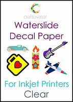 5 Pack CLEAR Water Slide Decal Paper INKJET A4 Waterslide Transfer Craft Sheets
