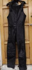 "MEN`S REAL LEATHER MOTORCYCLE BIKER OVERALLS TROUSERS W38"" - L34"" BIB PANTS"