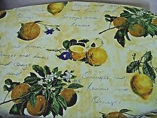 Lined 2 Curtains Custom Made French Country Lemon Fruit/Floral Writing Pattern