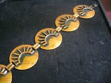 "Vintage Embossed Solid Copper Sunrise Round Link 7"" Bracelet"
