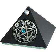 BLACK GLASS PYRAMID BOX PENTACLE 63 x 63 mm Wicca Witch Pagan Goth