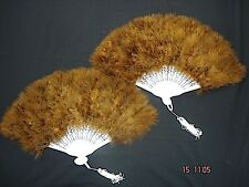 2 FINE MARABOU BROWN FEATHER HAND FAN FANCY PARTY COSTUME BURLESQUE SHOWGIRL A5