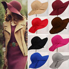 Vintage Women Ladies Wide Brim Floppy Warm Wool Blend Felt Hat Trilby Bowler Cap