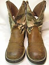 Justin Gypsy Ladies Cowboy Boots Size 7.5 B Tan leather/camo shaft L9913 #28 JB