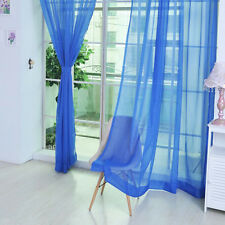2Pcs Solid Sheer Curtain Window Curtains Metal Eyelet Voile Panel Valances Scarf