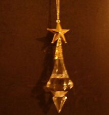 Clear Acrylic Pendulum Shaped Faceted Christmas Ornament with Gold Star