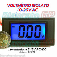 VOLTMETRO DIGITALE ISOLATO 0-20V AC  LCD BLU da pannello voltmeter power supply