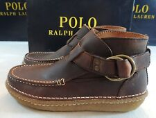 $275 Polo Ralph Lauren VAINO Cow Hide Leather Ankle Boots Chukka Buckle Shoes 9