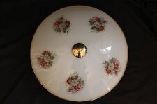 Vintage Thomas 3 Light Ceiling Fixture. Large Floral Glass Shade! SO PrEtTy! VG