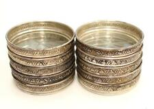 10 x 1940s Birks Sterling Silver Coasters cut glass bottom weight 389.5 grams