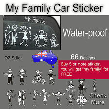 My Family Waterproof Stickers Stick Figure Family Decal Car Window Stickers
