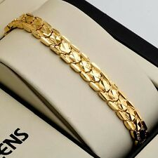 "18K Yellow Gold Filled Womens Bracelet Charms Chain 7.5"" Link Wedding Jewelry"