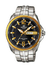 Casio Edifice  EF131D-1A9 Men's Stainless Steel Gold Bezel Day Date Analog Watch