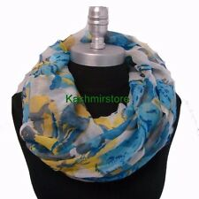 USA Seller! Spring Fall Infinity Scarf Flower Print Light Weight Blue/White #109