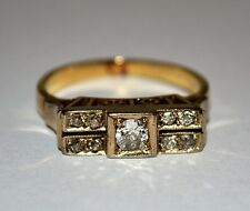 JUGENDSTIL RING AUS 585 - 14k GOLD 0,25 ct ALTSCHLIFF BRILLANTEN DIAMANT GR. 54