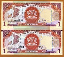 SET Trinidad and Tobago 2 x $1 2006 and 2014 P-46-New, New Sign. UNC   Braille