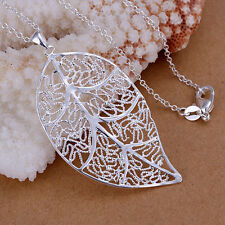 Women Silver Hollow Foliage Large Leaf Pendant Charm Chain Necklace Open Jewelry