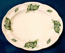 """RARE SHELLEY Dainty LILY of the VALLEY 12.5"""" Oval Platter Bone China ENG. 13822"""