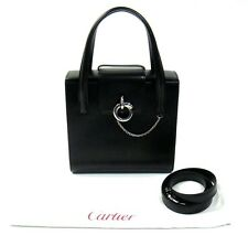 Cartier France Authentic Black Leather Panthere Satchel Shoulder Bag Barely Used