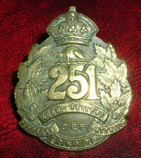 CAP BADGES-WW1 CANADIAN CEF 251st GOOD FELLOWS BATALLION REF 251-2