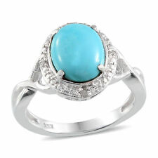2ct Sleeping Beauty Turquoise Ring Platinum on solid 925 Sterling Silver UK M
