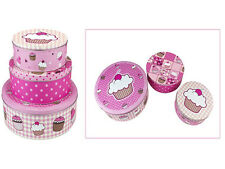 NEW 3PC PINK CUPCAKE CAKE COOKIES BISCUITS SWEETS COOKIES TIN STORAGE BOX BOXES