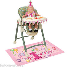 Unique PINK 1st Birthday High Chair Decorating Kit Set