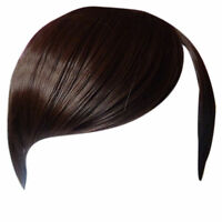 Fringe Bang Clip in on Hair Extensions STRAIGHT Medium Brown #6 Front