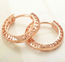 Pretty New 9K Rose Gold Filled Openwork Small Round Hoop Earrings