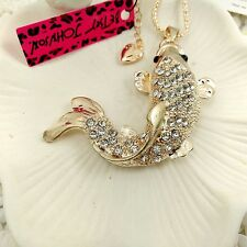 Betsey Johnson Carp pendant Crystal Long Necklace Sweater chain charm BJ112