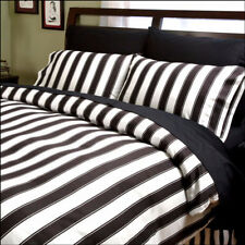 Sin In Linen Black & White Striped Duvet Cover TWIN