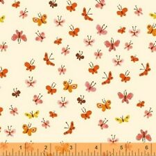 Windham Tiger Lily by Heather Ross 40933 5 Cream Butterflies Cotton Fabric