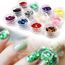 12x Nail Art Tips Decoration Powder Kit Big Hexagon Glitter For UV Gel Acrylic