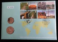 2005 B/U AUSTRALIA 50 CENT COIN + UK 50p COIN STAMPS PNC WORLD HERITAGE SITES