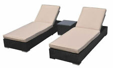 New 3 Piece Wicker Rattan Outdoor Sun Lounger w/ Side Table Furniture Set
