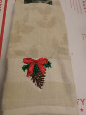 Christmas Cream Embroidered Pinecone Decorative Hand Towel NWT $17