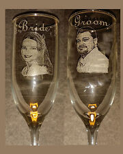 Personalized photo engraved Bride and Groom toasting glasses. Glass. Keepasake.