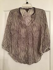 Anthropologie Fei Woman's 100% Silk 3/4 Sleeve Tunic Blouse - Gray - Size 8 NWOT