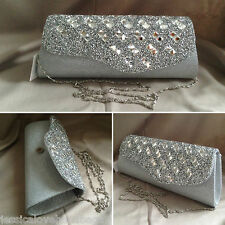 UK -Silver crystal flap and metallic thread bridal prom evening party Clutch bag