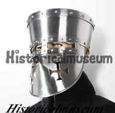 Historic Crusader Face Plate Helmet - Re-Enactment / LARP / Theatre LARP MKS6X