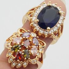 Wholesale Rings 2Pcs/lots Gold Filled Cubic Zircon Perfect Rings Size 8