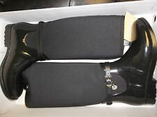 NIB Womens Size 8 Black Michael Kors Charm Stretch Rain Boots Rubber/Neoprene